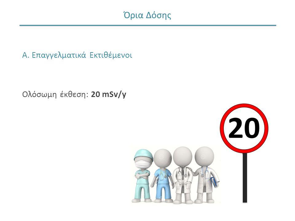 Όρια Δόσης Α. Επαγγελματικά Εκτιθέμενοι Ολόσωμη έκθεση: 20 mSv/y