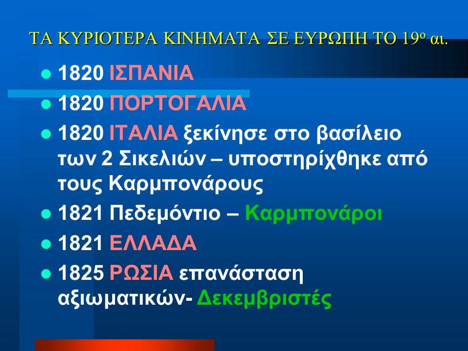 ΤΑ ΚΥΡΙΟΤΕΡΑ ΚΙΝΗΜΑΤΑ ΣΕ ΕΥΡΩΠΗ ΤΟ 19 ο αι. 1820 ΙΣΠΑΝΙΑ 1820 ΠΟΡΤΟΓΑΛΙΑ 1820 ΙΤΑΛΙΑ ξεκίνησε στο βασίλειο των 2 Σικελιών – υποστηρίχθηκε από τους Καρ
