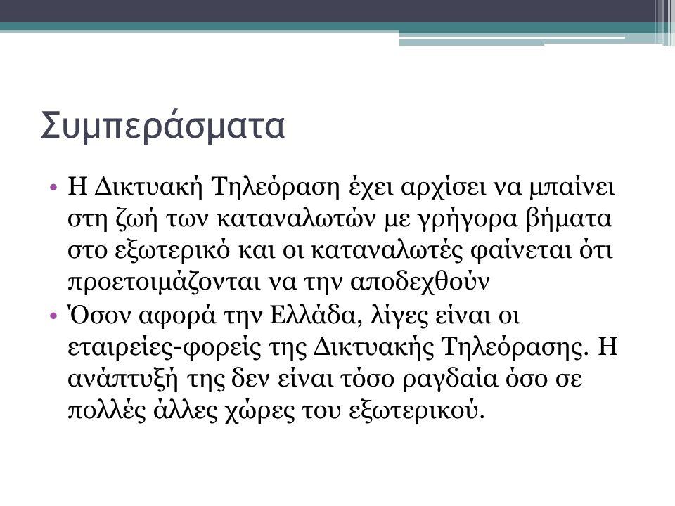 Συμπεράσματα Η Δικτυακή Τηλεόραση έχει αρχίσει να μπαίνει στη ζωή των καταναλωτών με γρήγορα βήματα στο εξωτερικό και οι καταναλωτές φαίνεται ότι προετοιμάζονται να την αποδεχθούν Όσον αφορά την Ελλάδα, λίγες είναι οι εταιρείες-φορείς της Δικτυακής Τηλεόρασης.