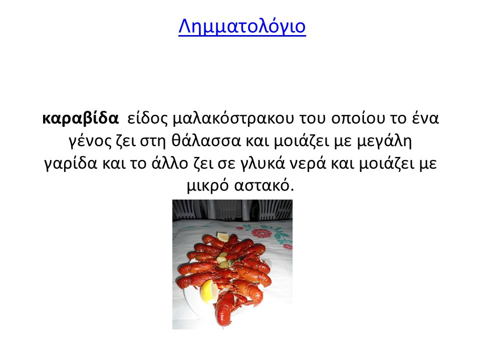 καραβίδα είδος μαλακόστρακου του οποίου το ένα γένος ζει στη θάλασσα και μοιάζει με μεγάλη γαρίδα και το άλλο ζει σε γλυκά νερά και μοιάζει με μικρό αστακό.