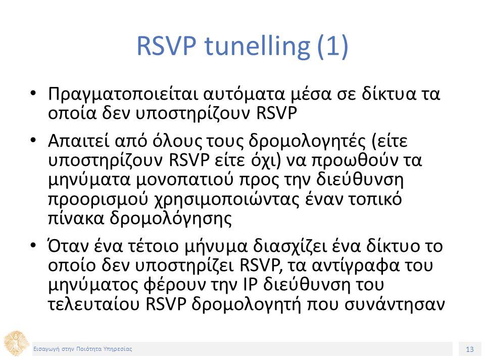 13 Εισαγωγή στην Ποιότητα Υπηρεσίας RSVP tunelling (1) Πραγματοποιείται αυτόματα μέσα σε δίκτυα τα οποία δεν υποστηρίζουν RSVP Απαιτεί από όλους τους δρομολογητές (είτε υποστηρίζουν RSVP είτε όχι) να προωθούν τα μηνύματα μονοπατιού προς την διεύθυνση προορισμού χρησιμοποιώντας έναν τοπικό πίνακα δρομολόγησης Όταν ένα τέτοιο μήνυμα διασχίζει ένα δίκτυο το οποίο δεν υποστηρίζει RSVP, τα αντίγραφα του μηνύματος φέρουν την IP διεύθυνση του τελευταίου RSVP δρομολογητή που συνάντησαν