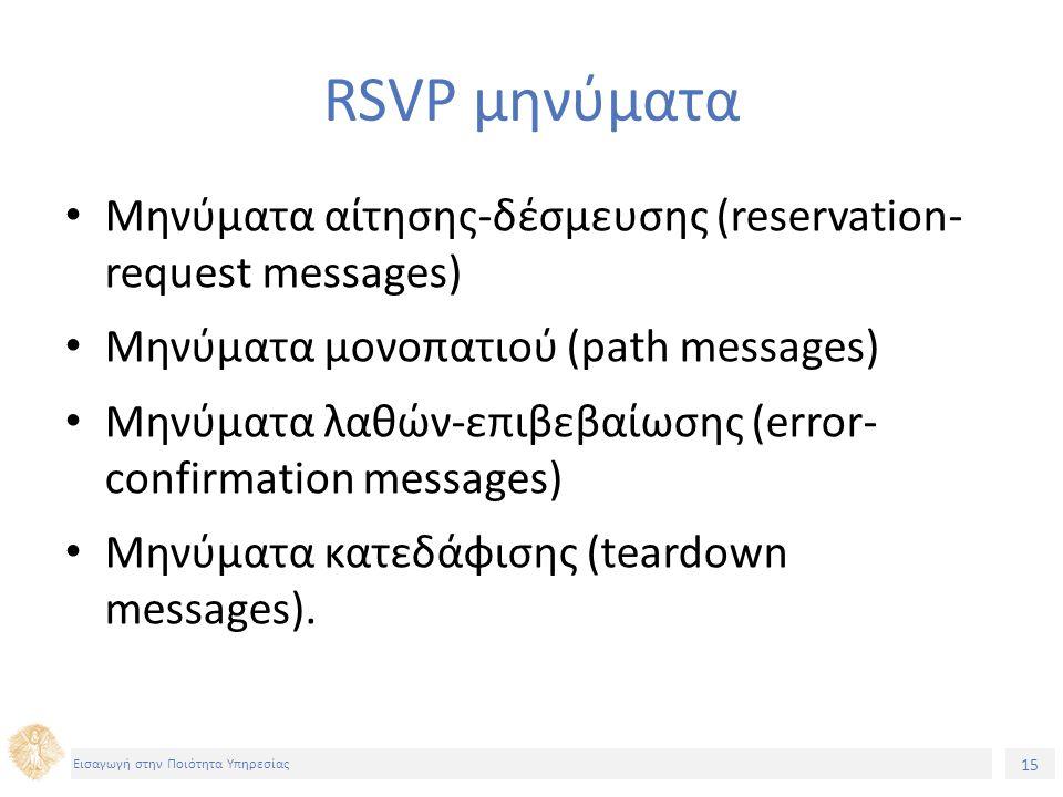 15 Εισαγωγή στην Ποιότητα Υπηρεσίας RSVP μηνύματα Μηνύματα αίτησης-δέσμευσης (reservation- request messages) Μηνύματα μονοπατιού (path messages) Μηνύμ