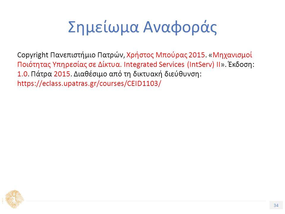 34 Εισαγωγή στην Ποιότητα Υπηρεσίας Σημείωμα Αναφοράς Copyright Πανεπιστήμιο Πατρών, Χρήστος Μπούρας 2015.