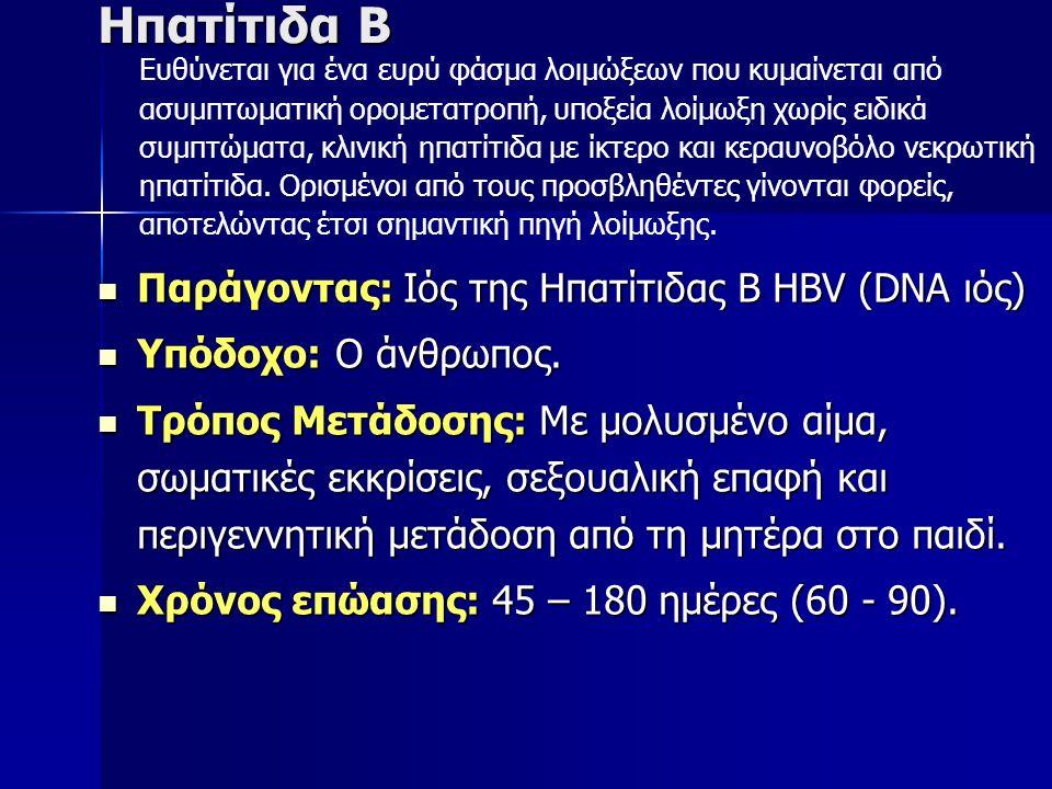 Ηπατίτιδα Β Παράγοντας: Ιός της Ηπατίτιδας Β HBV (DNA ιός) Παράγοντας: Ιός της Ηπατίτιδας Β HBV (DNA ιός) Υπόδοχο: Ο άνθρωπος.