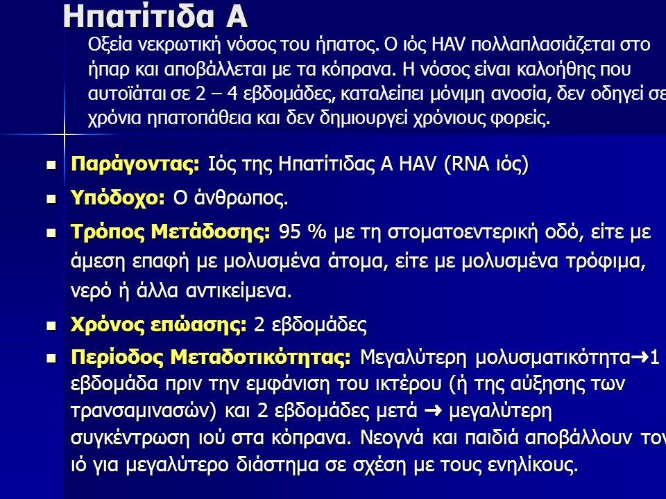 Ηπατίτιδα Α Παράγοντας: Ιός της Ηπατίτιδας Α HΑV (RNA ιός) Παράγοντας: Ιός της Ηπατίτιδας Α HΑV (RNA ιός) Υπόδοχο: Ο άνθρωπος.