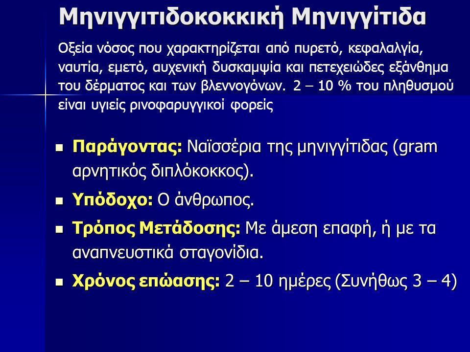 Μηνιγγιτιδοκοκκική Μηνιγγίτιδα Παράγοντας: Ναϊσσέρια της μηνιγγίτιδας (gram αρνητικός διπλόκοκκος).