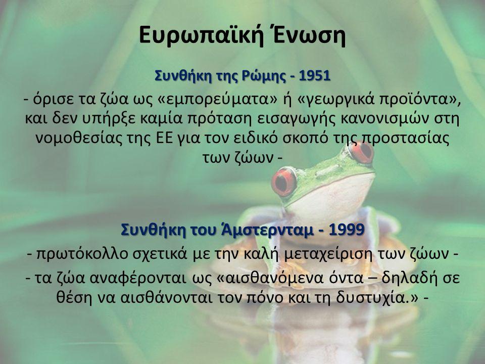 Ευρωπαϊκή Ένωση Συνθήκη της Ρώμης - 1951 - όρισε τα ζώα ως «εμπορεύματα» ή «γεωργικά προϊόντα», και δεν υπήρξε καμία πρόταση εισαγωγής κανονισμών στη νομοθεσίας της ΕΕ για τον ειδικό σκοπό της προστασίας των ζώων - Συνθήκη του Άμστερνταμ - 1999 - πρωτόκολλο σχετικά με την καλή μεταχείριση των ζώων - - τα ζώα αναφέρονται ως «αισθανόμενα όντα – δηλαδή σε θέση να αισθάνονται τον πόνο και τη δυστυχία.» -