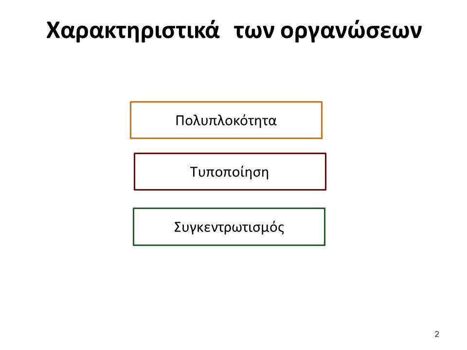 Χαρακτηριστικά των οργανώσεων Πολυπλοκότητα 2 Τυποποίηση Συγκεντρωτισμός