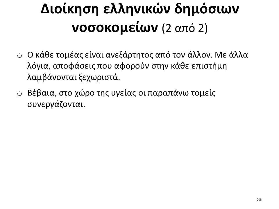Διοίκηση ελληνικών δημόσιων νοσοκομείων (2 από 2) o Ο κάθε τομέας είναι ανεξάρτητος από τον άλλον.