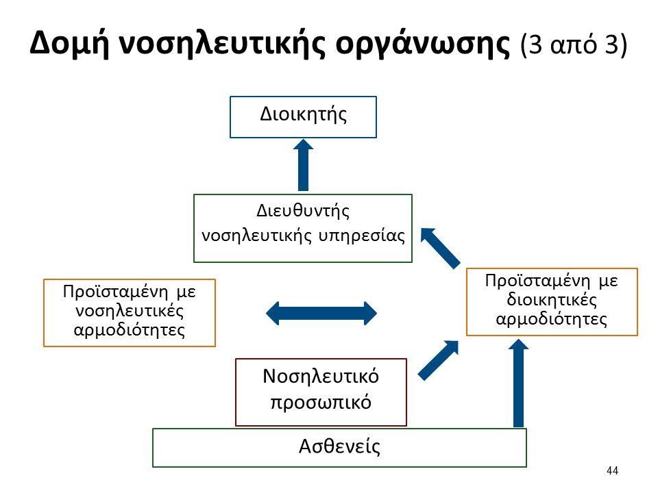 Δομή νοσηλευτικής οργάνωσης (3 από 3) Διοικητής 44 Διευθυντής νοσηλευτικής υπηρεσίας Προϊσταμένη με διοικητικές αρμοδιότητες Προϊσταμένη με νοσηλευτικές αρμοδιότητες Νοσηλευτικό προσωπικό Ασθενείς