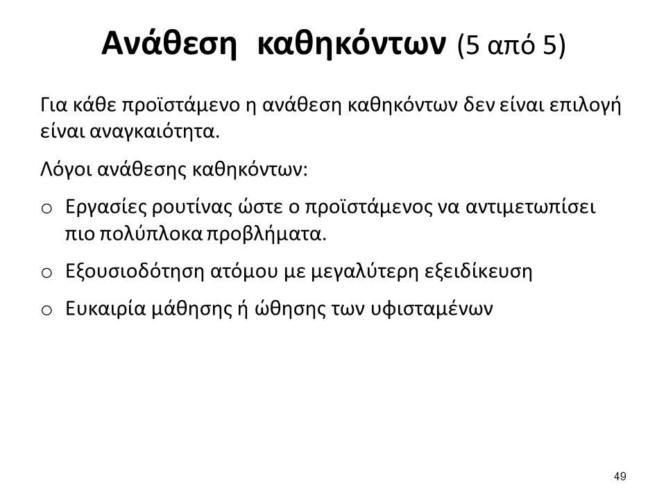 Ανάθεση καθηκόντων (5 από 5) Για κάθε προϊστάμενο η ανάθεση καθηκόντων δεν είναι επιλογή είναι αναγκαιότητα.