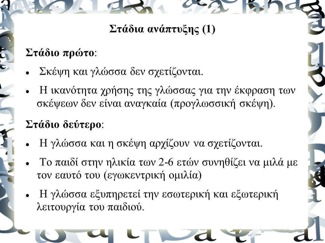 Στάδια ανάπτυξης (1) Στάδιο πρώτο: Σκέψη και γλώσσα δεν σχετίζονται.
