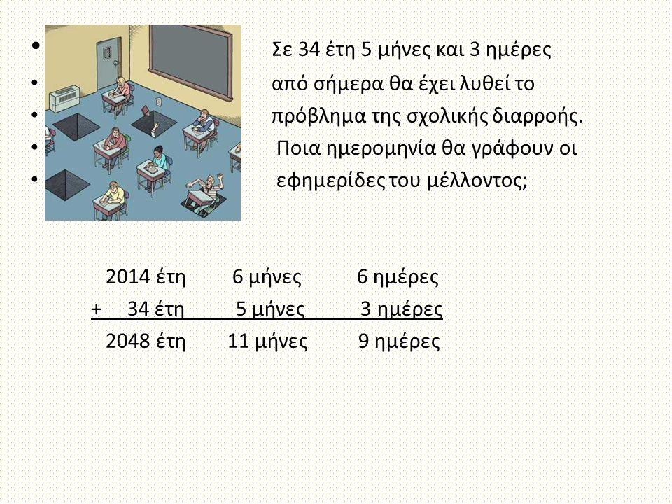 Σε 34 έτη 5 μήνες και 3 ημέρες από σήμερα θα έχει λυθεί το πρόβλημα της σχολικής διαρροής. Ποια ημερομηνία θα γράφουν οι εφημερίδες του μέλλοντος; 201