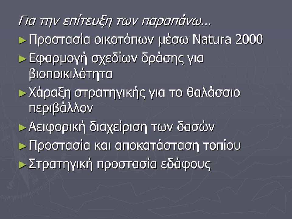 Για την επίτευξη των παραπάνω… ► Προστασία οικοτόπων µέσω Natura 2000 ► Εφαρµογή σχεδίων δράσης για βιοποικιλότητα ► Χάραξη στρατηγικής για το θαλάσσιο περιβάλλον ► Αειφορική διαχείριση των δασών ► Προστασία και αποκατάσταση τοπίου ► Στρατηγική προστασία εδάφους