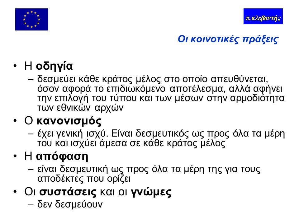 Λήψη αποφάσεων 1 ος Πυλώνας - κοινοτική μέθοδος –Πρόταση της Επιτροπής –Γνώμες (Ευρωκοινοβούλιο, ΟΚΕ, Επιτ.