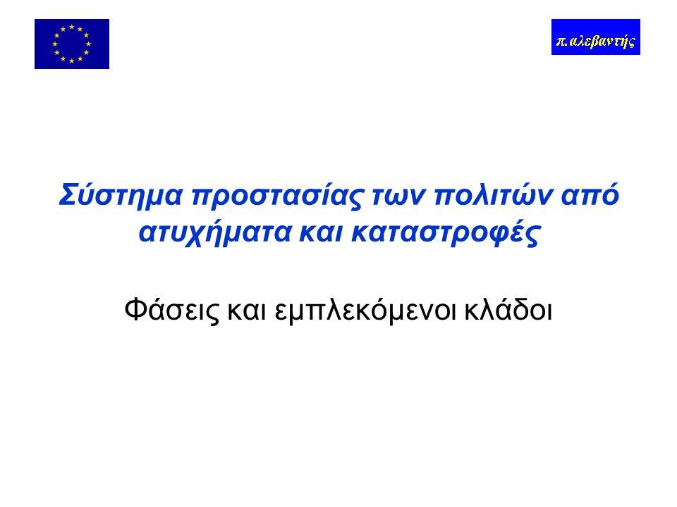 Περιεχόμενα Το σύστημα Δυό λόγια για την Ευρωπαϊκή Ένωση Αιτιολόγηση της δράσης στο επίπεδο της ΕΕ Κοινοτικό κεκτημένο σε επιμέρους τομείς –Ατυχήματα –Μείζονα περιστατικά και καταστροφές –Ανθρωπιστική βοήθεια Μείζον έργο για την Ιατρική Καταστροφών Συζήτηση