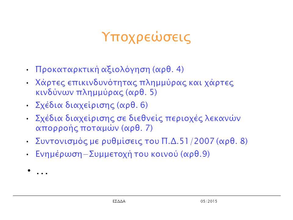 ΕΣΔΔΑ05/2015 Υποχρεώσεις Προκαταρκτική αξιολόγηση (αρθ.