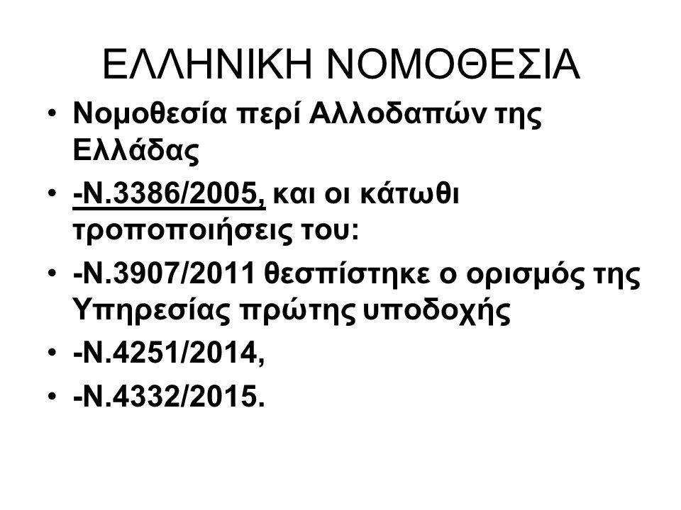 ΕΛΛΗΝΙΚΗ ΝΟΜΟΘΕΣΙΑ Νομοθεσία περί Αλλοδαπών της Ελλάδας -Ν.3386/2005, και οι κάτωθι τροποποιήσεις του: -Ν.3907/2011 θεσπίστηκε ο ορισμός της Υπηρεσίας πρώτης υποδοχής -Ν.4251/2014, -Ν.4332/2015.
