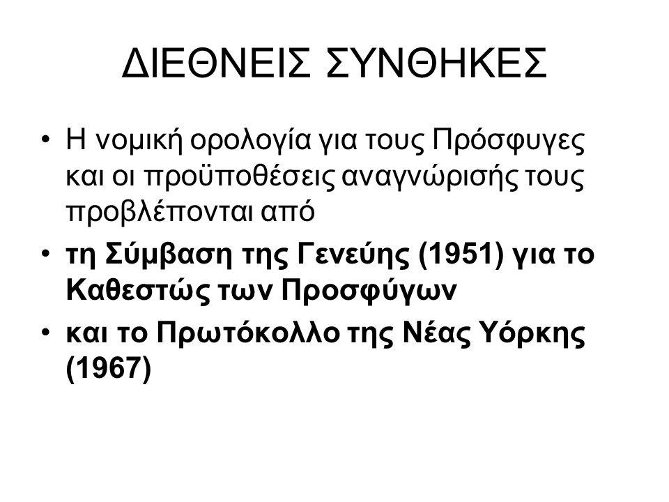 ΔΙΕΘΝΕΙΣ ΣΥΝΘΗΚΕΣ Η νομική ορολογία για τους Πρόσφυγες και οι προϋποθέσεις αναγνώρισής τους προβλέπονται από τη Σύμβαση της Γενεύης (1951) για το Καθεστώς των Προσφύγων και το Πρωτόκολλο της Νέας Υόρκης (1967)