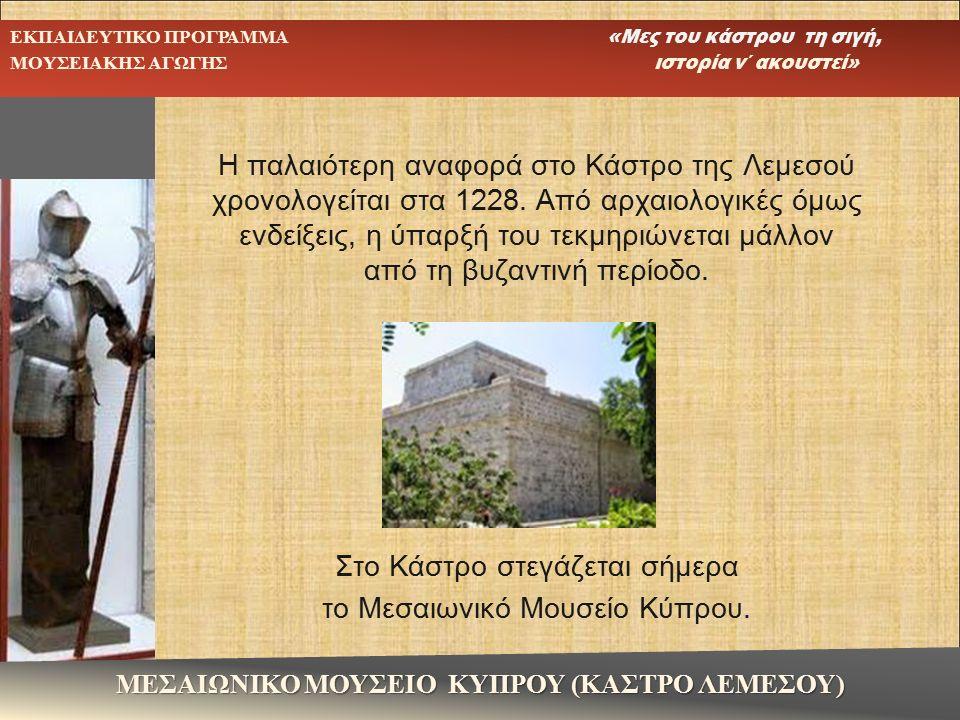 Η παλαιότερη αναφορά στο Κάστρο της Λεμεσού χρονολογείται στα 1228. Από αρχαιολογικές όμως ενδείξεις, η ύπαρξή του τεκμηριώνεται μάλλον από τη βυζαντι