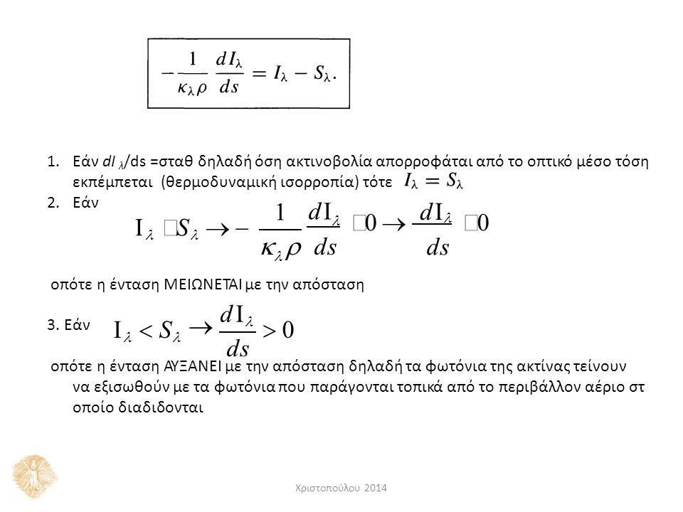 1.Εάν dI λ /ds =σταθ δηλαδή όση ακτινοβολία απορροφάται από το οπτικό μέσο τόση εκπέμπεται (θερμοδυναμική ισορροπία) τότε 2.Εάν οπότε η ένταση ΜΕΙΩΝΕΤΑΙ με την απόσταση 3.