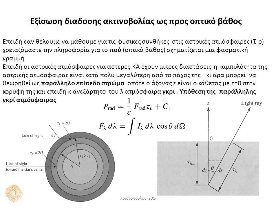 Εξίσωση διαδοσης ακτινοβολίας ως προς οπτικό βάθος Επειδή εαν θέλουμε να μάθουμε για τις φυσικες συνθήκες στις αστρικές ατμόσφαιρες (Τ, ρ) χρειαζόμαστ