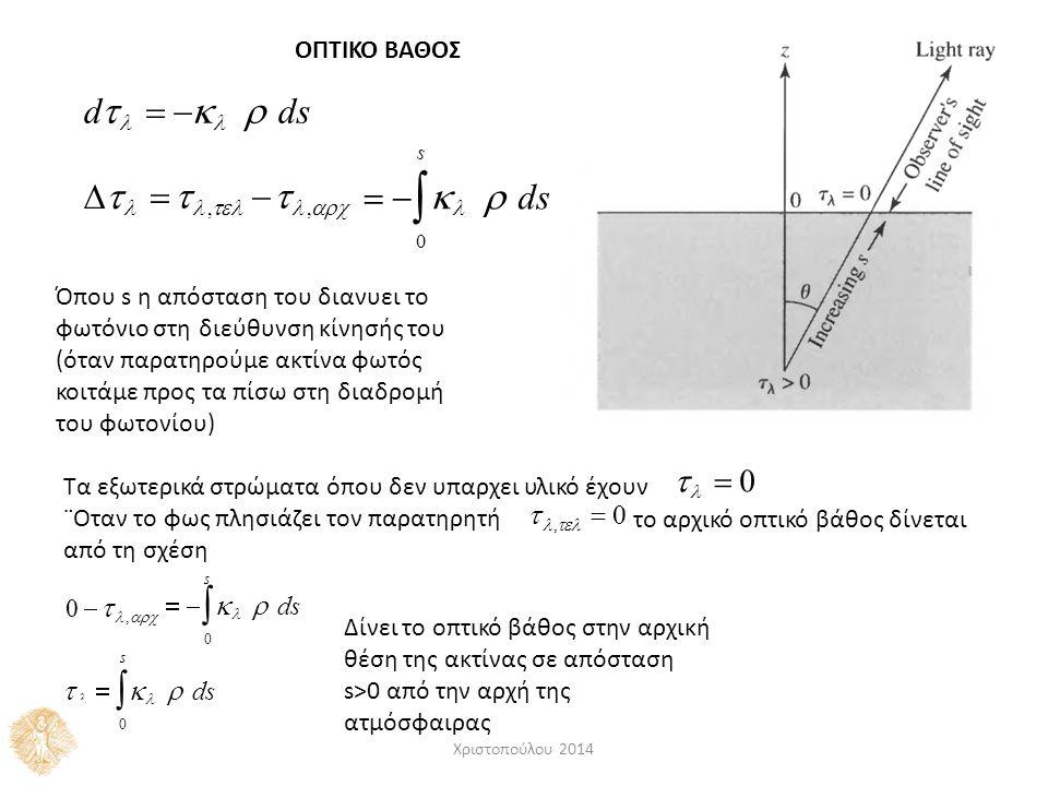 ΟΠΤΙΚΟ ΒΑΘΟΣ d      ds    ,   ,  s      ds 0 Όπου s η απόσταση του διανυει το φωτόνιο στη διεύθυνση κίνησής του (όταν παρατηρούμε ακτίνα φωτός κοιτάμε προς τα πίσω στη διαδρομή του φωτονίου) Τα εξωτερικά στρώματα όπου δεν υπαρχει υλικό έχουν   0 ,   0 το αρχικό οπτικό βάθος δίνεται ¨Οταν το φως πλησιάζει τον παρατηρητή από τη σχέση s      ds 0 0 ,  s      ds 0 Δίνει το οπτικό βάθος στην αρχική θέση της ακτίνας σε απόσταση s>0 από την αρχή της ατμόσφαιρας Χριστοπούλου 2014