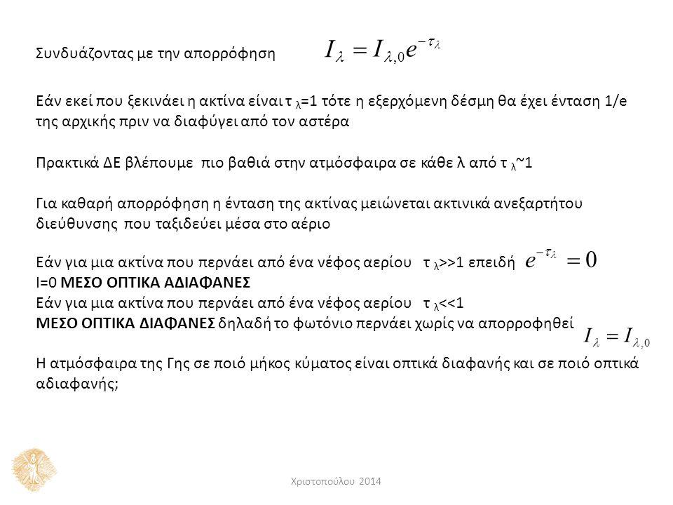 I,0 e   I  Συνδυάζοντας με την απορρόφηση Εάν εκεί που ξεκινάει η ακτίνα είναι τ λ =1 τότε η εξερχόμενη δέσμη θα έχει ένταση 1/e της αρχικής πριν ν