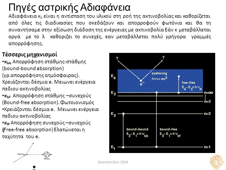Πηγές αστρικής Αδιαφάνεια Αδιαφάνεια κ λ είναι η αντίσταση του υλικού στη ροή της ακτινοβολίας και καθορίζεται απόόλεςτιςδιαδικασίεςπουσκεδάζουνκαιαπορροφούνφωτόνιακαιθατη συναντήσαμε στην εξίσωση διάδοση της ενέργειας με ακτινοβολία Εάν κ μεταβάλλεται γραμμέςγραμμέςαργάμε το λκαθοριζει το συνεχές, εαν μεταβάλλεται πολύ γρήγορα απορρόφησης.