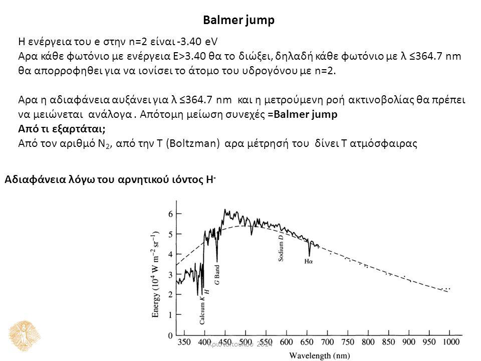 Balmer jump H ενέργεια του e στην n=2 είναι -3.40 eV Αρα κάθε φωτόνιο με ενέργεια Ε>3.40 θα το διώξει, δηλαδή κάθε φωτόνιο με λ ≤364.7 nm θα απορροφηθει για να ιονίσει το άτομο του υδρογόνου με n=2.