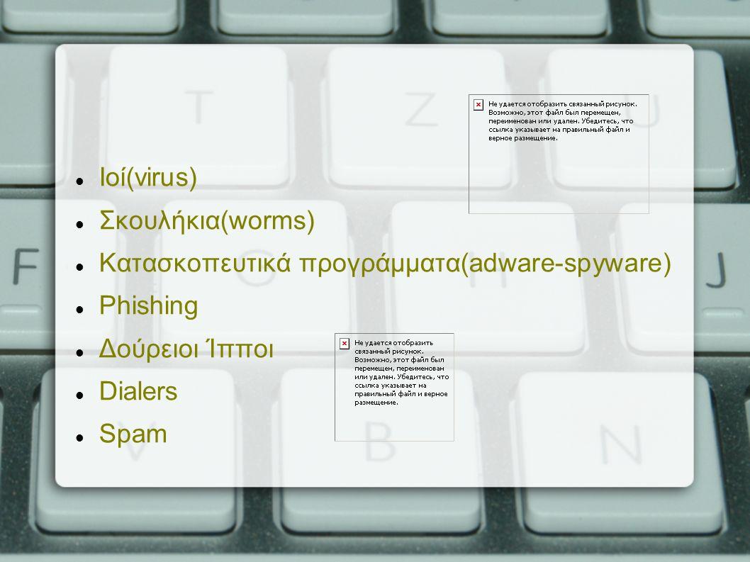 Ιοί(virus) Σκουλήκια(worms) Κατασκοπευτικά προγράμματα(adware-spyware) Phishing Δούρειοι Ίπποι Dialers Spam