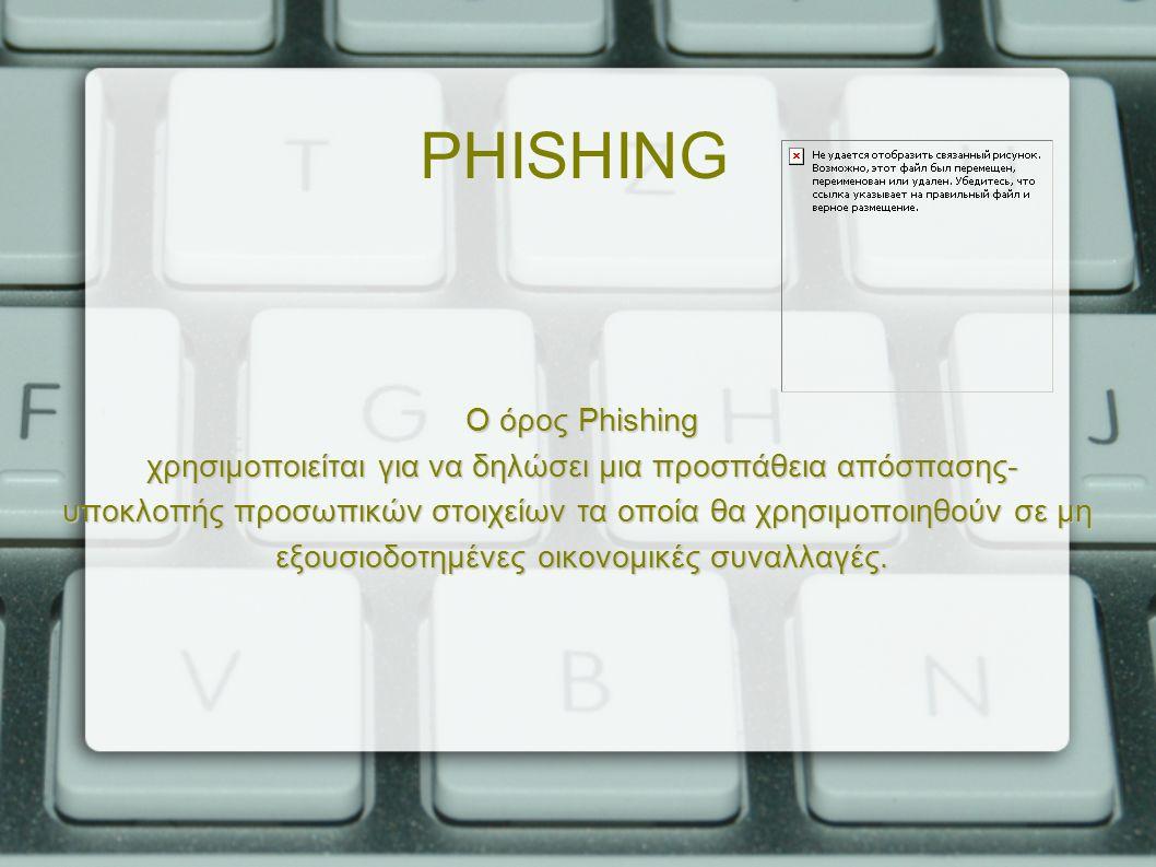 PHISHING Ο όρος Phishing χρησιμοποιείται για να δηλώσει μια προσπάθεια απόσπασης- υποκλοπής προσωπικών στοιχείων τα οποία θα χρησιμοποιηθούν σε μη εξουσιοδοτημένες οικονομικές συναλλαγές.