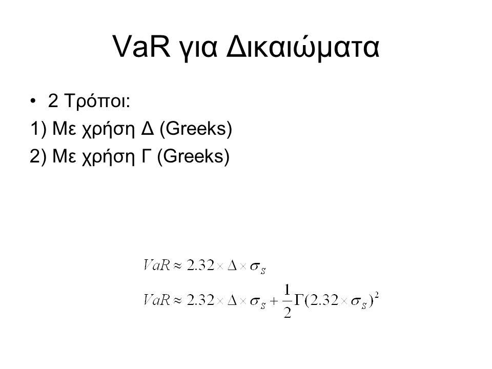 VaR If we want multiple day VaR, then use the one day VaR times the square root of the number of days Αν θέλουμε VaR για περισσότερες μέρες, χρησιμοποιούμε το VaR μίας ημέρας * την τετραγωνική ρίζα του αριθμού των ημερών Υποθέτουμε –VaR 1-ημέρας είναι σταθερό κατά τη περίοδο που αναφέρεται