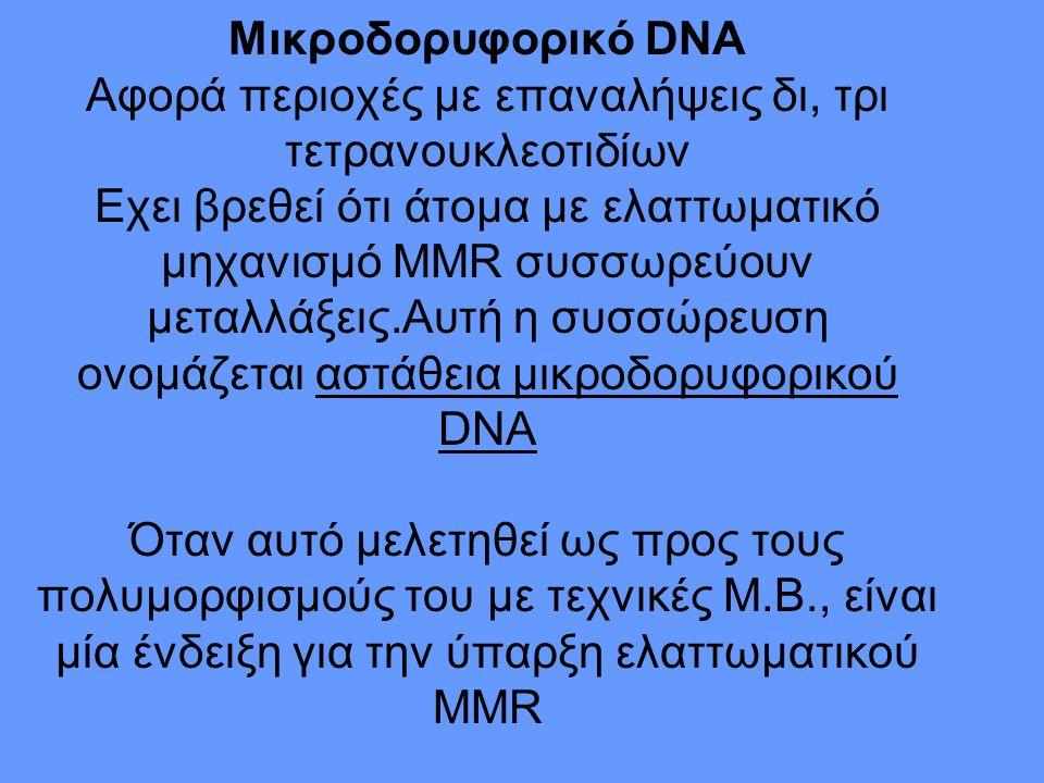 Μικροδορυφορικό DΝΑ Αφορά περιοχές με επαναλήψεις δι, τρι τετρανουκλεοτιδίων Εχει βρεθεί ότι άτομα με ελαττωματικό μηχανισμό MMR συσσωρεύουν μεταλλάξεις.Αυτή η συσσώρευση ονομάζεται αστάθεια μικροδορυφορικού DNA Όταν αυτό μελετηθεί ως προς τους πολυμορφισμούς του με τεχνικές Μ.Β., είναι μία ένδειξη για την ύπαρξη ελαττωματικού ΜΜR