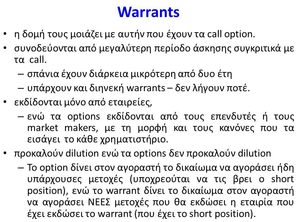 Warrants η δομή τους μοιάζει με αυτήν που έχουν τα call option.
