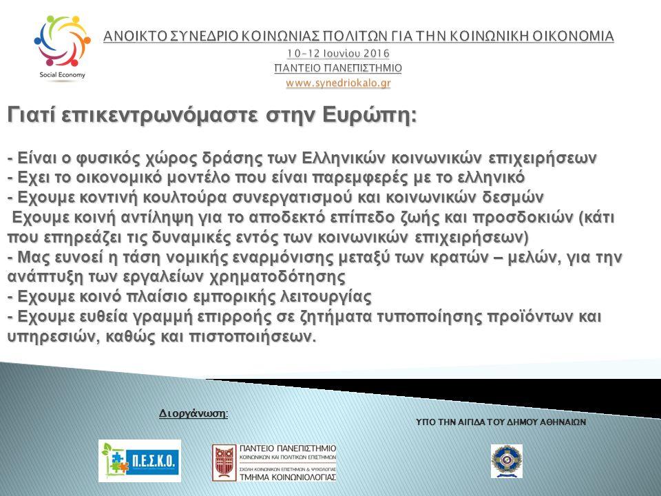 ΥΠΟ ΤΗΝ ΑΙΓΙΔΑ ΤΟΥ ΔΗΜΟΥ ΑΘΗΝΑΙΩΝ Διοργάνωση: Γιατί επικεντρωνόμαστε στην Ευρώπη: - Είναι ο φυσικός χώρος δράσης των Ελληνικών κοινωνικών επιχειρήσεων - Εχει το οικονομικό μοντέλο που είναι παρεμφερές με το ελληνικό - Εχουμε κοντινή κουλτούρα συνεργατισμού και κοινωνικών δεσμών Εχουμε κοινή αντίληψη για το αποδεκτό επίπεδο ζωής και προσδοκιών (κάτι που επηρεάζει τις δυναμικές εντός των κοινωνικών επιχειρήσεων) Εχουμε κοινή αντίληψη για το αποδεκτό επίπεδο ζωής και προσδοκιών (κάτι που επηρεάζει τις δυναμικές εντός των κοινωνικών επιχειρήσεων) - Μας ευνοεί η τάση νομικής εναρμόνισης μεταξύ των κρατών – μελών, για την ανάπτυξη των εργαλείων χρηματοδότησης - Εχουμε κοινό πλαίσιο εμπορικής λειτουργίας - Εχουμε ευθεία γραμμή επιρροής σε ζητήματα τυποποίησης προϊόντων και υπηρεσιών, καθώς και πιστοποιήσεων.