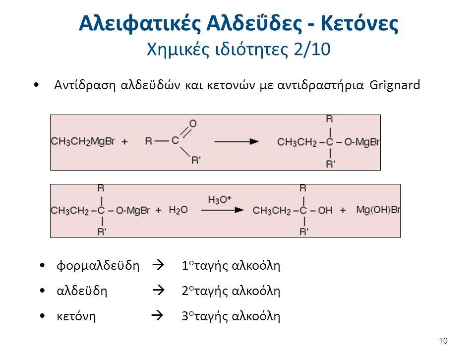 Αντίδραση αλδεϋδών και κετονών με αντιδραστήρια Grignard φορμαλδεϋδη  1 ο ταγής αλκοόλη αλδεϋδη  2 ο ταγής αλκοόλη κετόνη  3 ο ταγής αλκοόλη 10 Αλειφατικές Αλδεΰδες - Κετόνες Χημικές ιδιότητες 2/10
