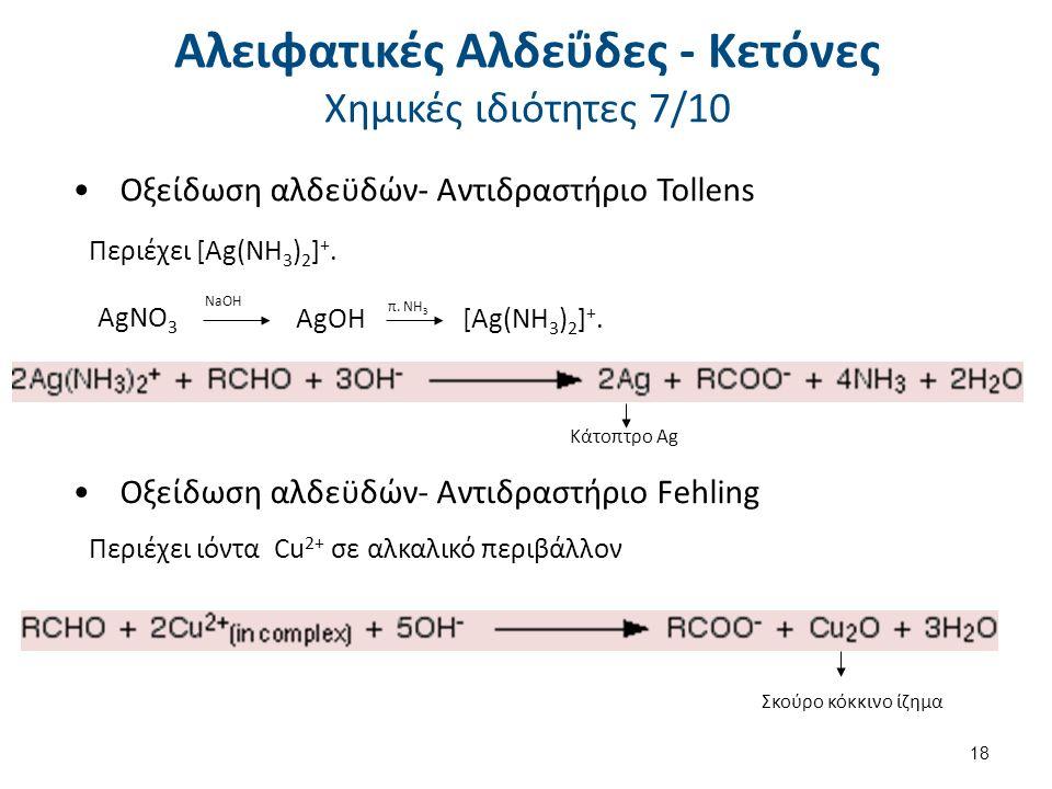Οξείδωση αλδεϋδών- Αντιδραστήριο Tollens Περιέχει [Ag(NH 3 ) 2 ] +.