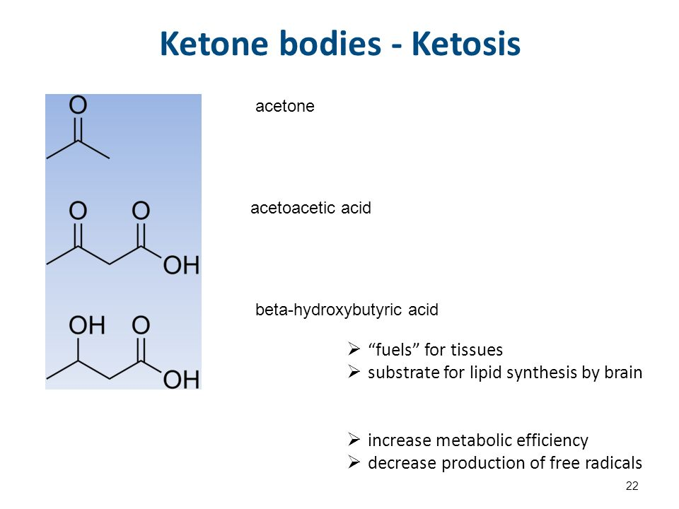 Ketone bodies - Ketosis acetone acetoacetic acid beta-hydroxybutyric acid  fuels for tissues  substrate for lipid synthesis by brain  increase metabolic efficiency  decrease production of free radicals 22
