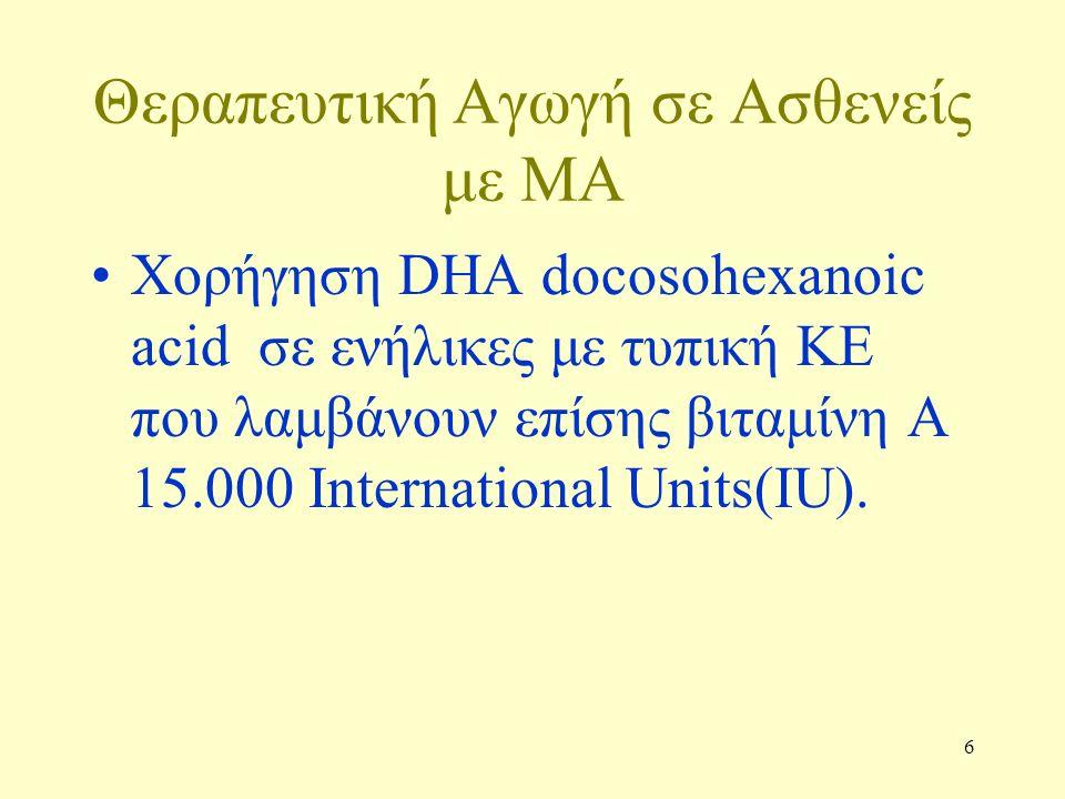 6 Θεραπευτική Αγωγή σε Ασθενείς με ΜΑ Χορήγηση DHA docosohexanoic acid σε ενήλικες με τυπική ΚΕ που λαμβάνουν επίσης βιταμίνη Α 15.000 International Units(IU).