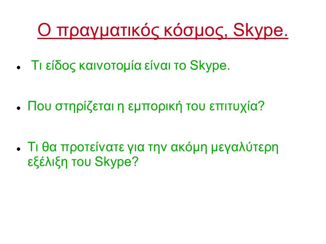 Ο πραγματικός κόσμος, Skype. Τι είδος καινοτομία είναι το Skype. Που στηρίζεται η εμπορική του επιτυχία? Τι θα προτείνατε για την ακόμη μεγαλύτερη εξέ