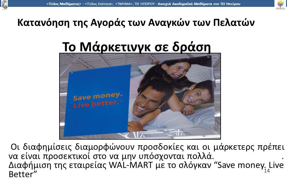 1414 -,, ΤΕΙ ΗΠΕΙΡΟΥ - Ανοιχτά Ακαδημαϊκά Μαθήματα στο ΤΕΙ Ηπείρου Κατανόηση της Αγοράς των Αναγκών των Πελατών 14 Το Μάρκετινγκ σε δράση Οι διαφημίσεις διαμορφώνουν προσδοκίες και οι μάρκετερς πρέπει να είναι προσεκτικοί στο να μην υπόσχονται πολλά..
