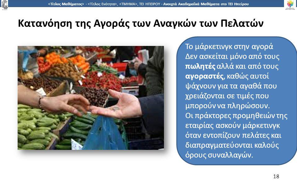 1818 -,, ΤΕΙ ΗΠΕΙΡΟΥ - Ανοιχτά Ακαδημαϊκά Μαθήματα στο ΤΕΙ Ηπείρου Κατανόηση της Αγοράς των Αναγκών των Πελατών 18 Το μάρκετινγκ στην αγορά Δεν ασκείται μόνο από τους πωλητές αλλά και από τους αγοραστές, καθώς αυτοί ψάχνουν για τα αγαθά που χρειάζονται σε τιμές που μπορούν να πληρώσουν.