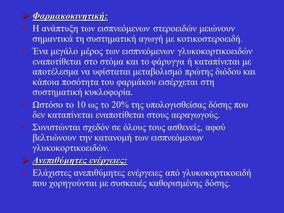  Φαρμακοκινητική: Η ανάπτυξη των εισπνεόμενων στεροειδών μειώνουν σημαντικά τη συστηματική αγωγή με κοτικοστεροειδή.