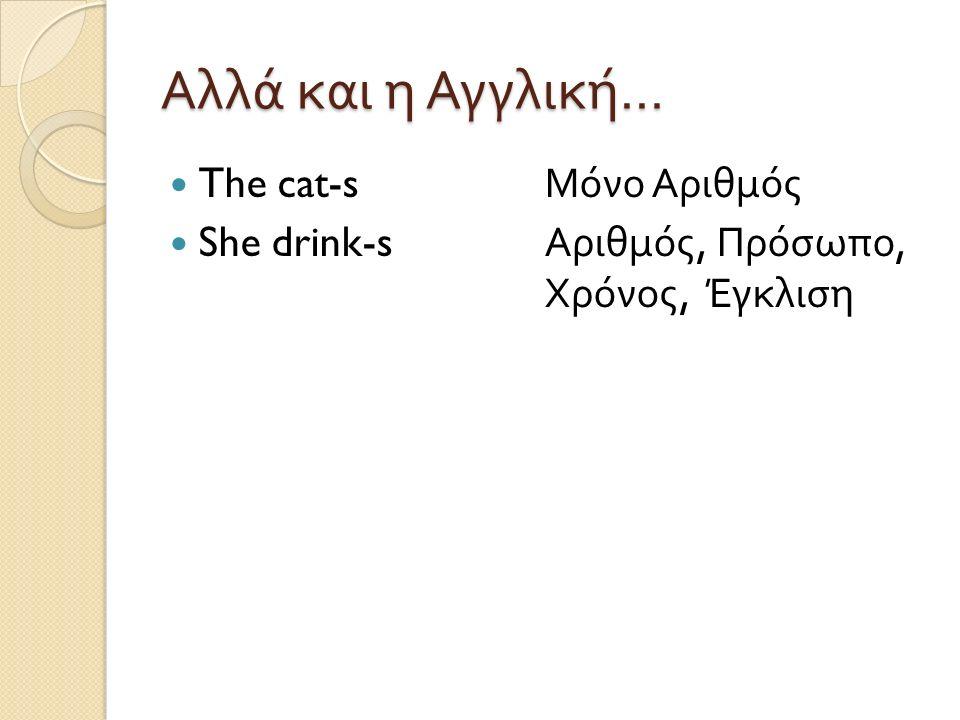 Αλλά και η Αγγλική … The cat-s Μόνο Αριθμός She drink-s Αριθμός, Πρόσωπο, Χρόνος, Έγκλιση
