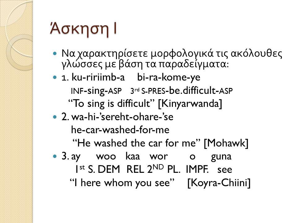 Άσκηση Ι Να χαρακτηρίσετε μορφολογικά τις ακόλουθες γλώσσες με βάση τα παραδείγματα : 1. ku-ririimb-a bi-ra-kome-ye INF -sing- ASP 3 rd S-PRES -be.dif
