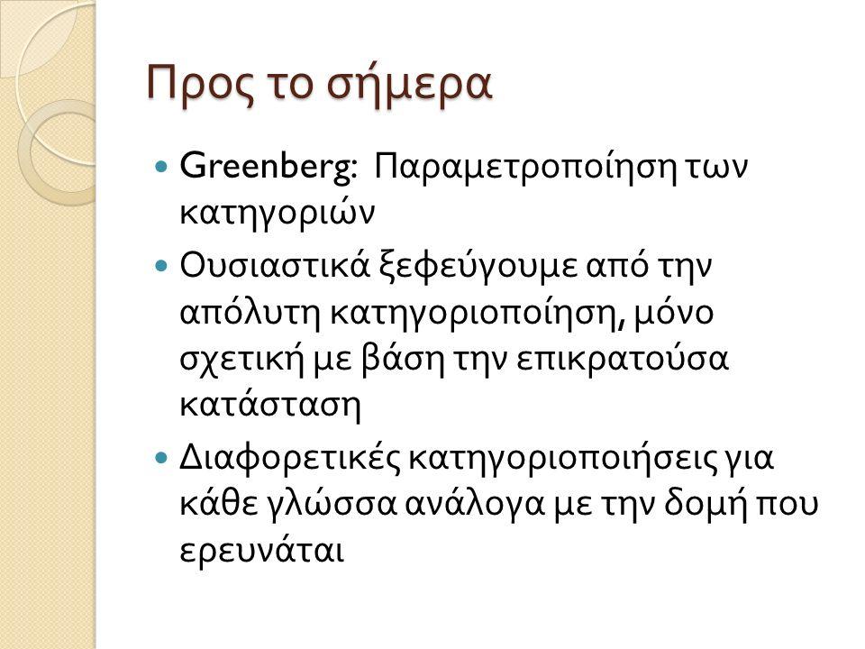 Προς το σήμερα Greenberg: Παραμετροποίηση των κατηγοριών Ουσιαστικά ξεφεύγουμε από την απόλυτη κατηγοριοποίηση, μόνο σχετική με βάση την επικρατούσα κατάσταση Διαφορετικές κατηγοριοποιήσεις για κάθε γλώσσα ανάλογα με την δομή που ερευνάται