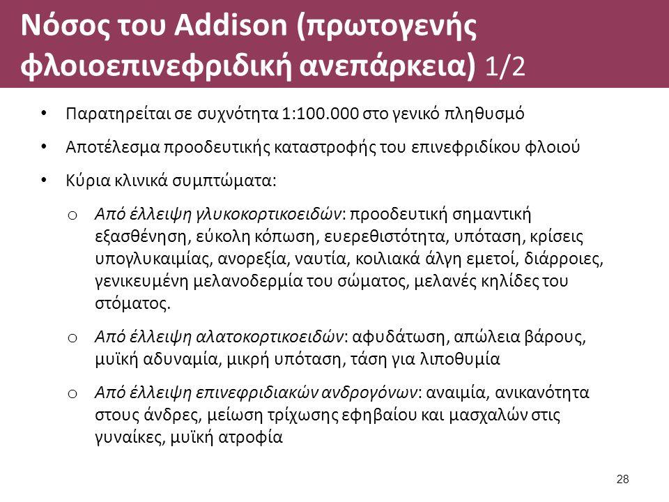 Νόσος του Addison (πρωτογενής φλοιοεπινεφριδική ανεπάρκεια) 1/2 Παρατηρείται σε συχνότητα 1:100.000 στο γενικό πληθυσμό Αποτέλεσμα προοδευτικής καταστροφής του επινεφριδίκου φλοιού Κύρια κλινικά συμπτώματα: o Από έλλειψη γλυκοκορτικοειδών: προοδευτική σημαντική εξασθένηση, εύκολη κόπωση, ευερεθιστότητα, υπόταση, κρίσεις υπογλυκαιμίας, ανορεξία, ναυτία, κοιλιακά άλγη εμετοί, διάρροιες, γενικευμένη μελανοδερμία του σώματος, μελανές κηλίδες του στόματος.