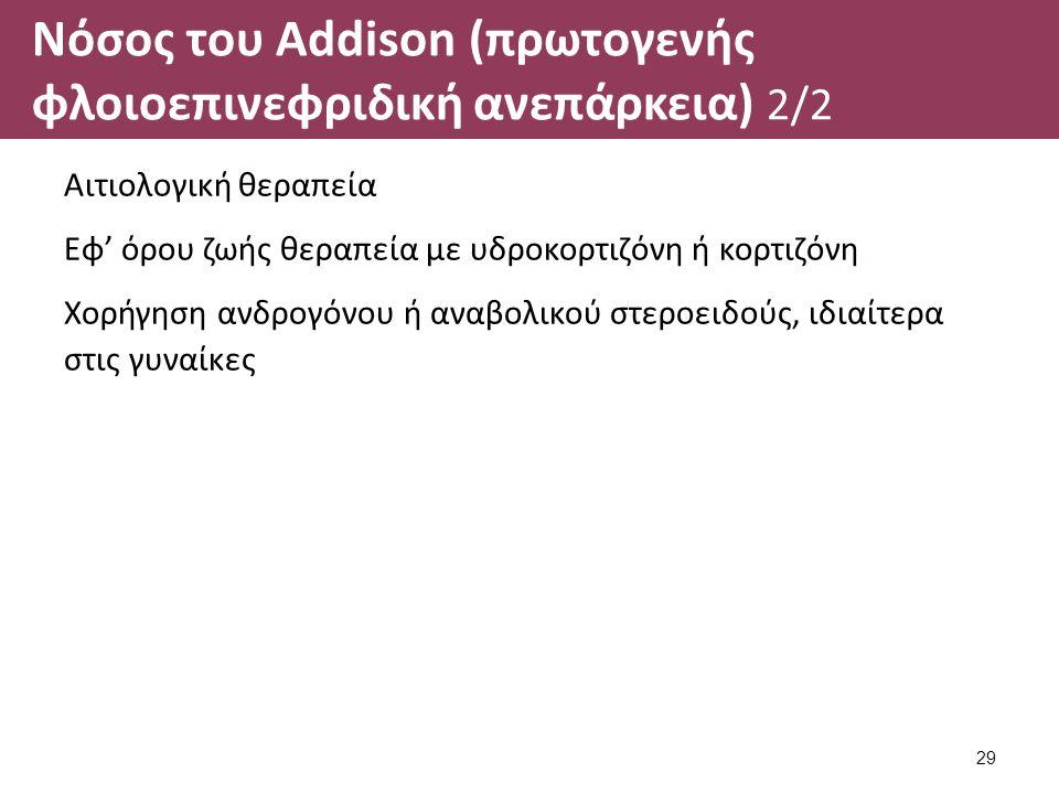 Νόσος του Addison (πρωτογενής φλοιοεπινεφριδική ανεπάρκεια) 2/2 Αιτιολογική θεραπεία Εφ' όρου ζωής θεραπεία με υδροκορτιζόνη ή κορτιζόνη Χορήγηση ανδρογόνου ή αναβολικού στεροειδούς, ιδιαίτερα στις γυναίκες 29