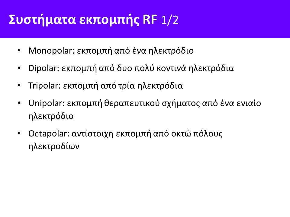 Συστήματα εκπομπής RF 1/2 Monopolar: εκπομπή από ένα ηλεκτρόδιο Dipolar: εκπομπή από δυο πολύ κοντινά ηλεκτρόδια Tripolar: εκπομπή από τρία ηλεκτρόδια